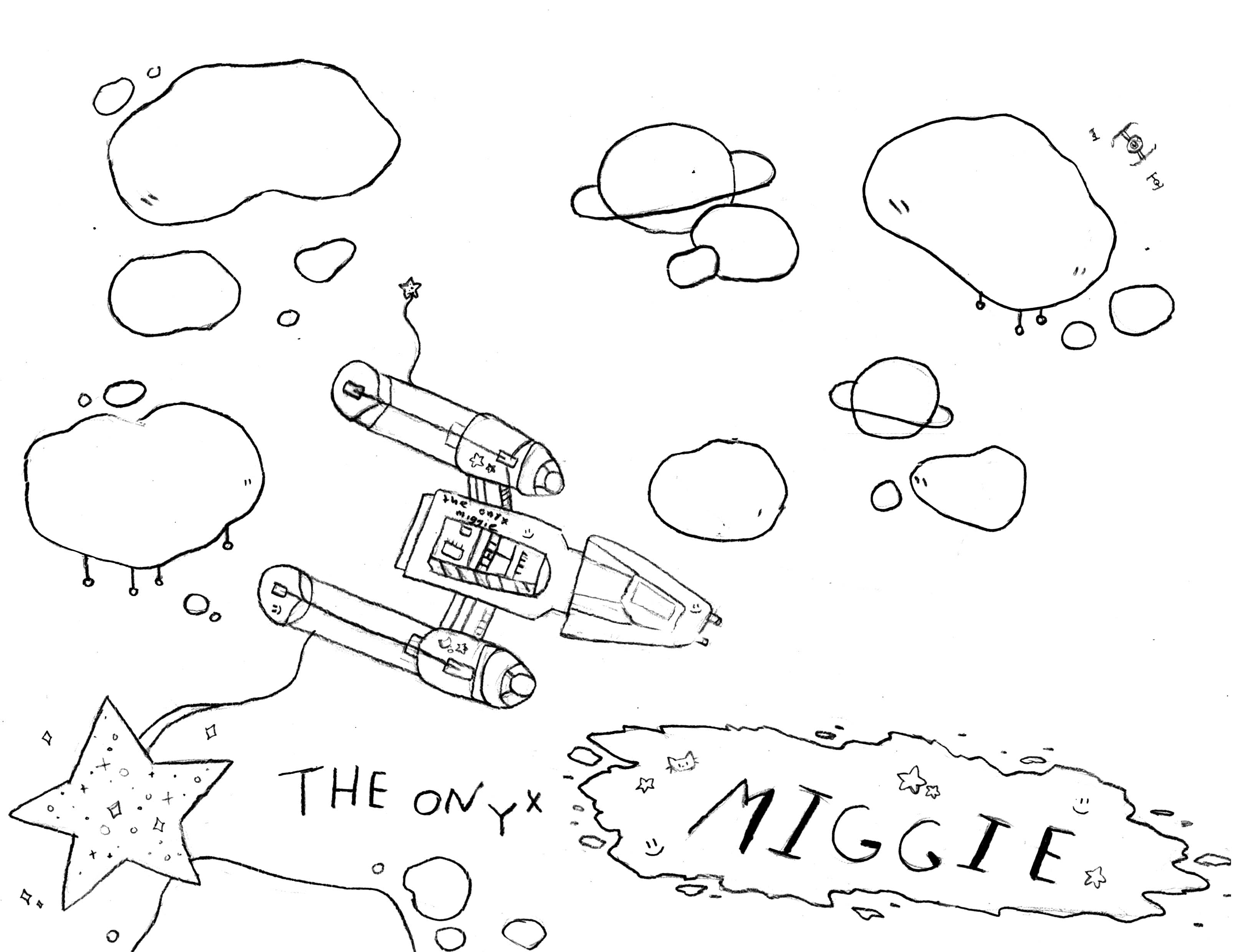 Neko's personal spacecraft, a Y-Wing named The Onyx Miggie.