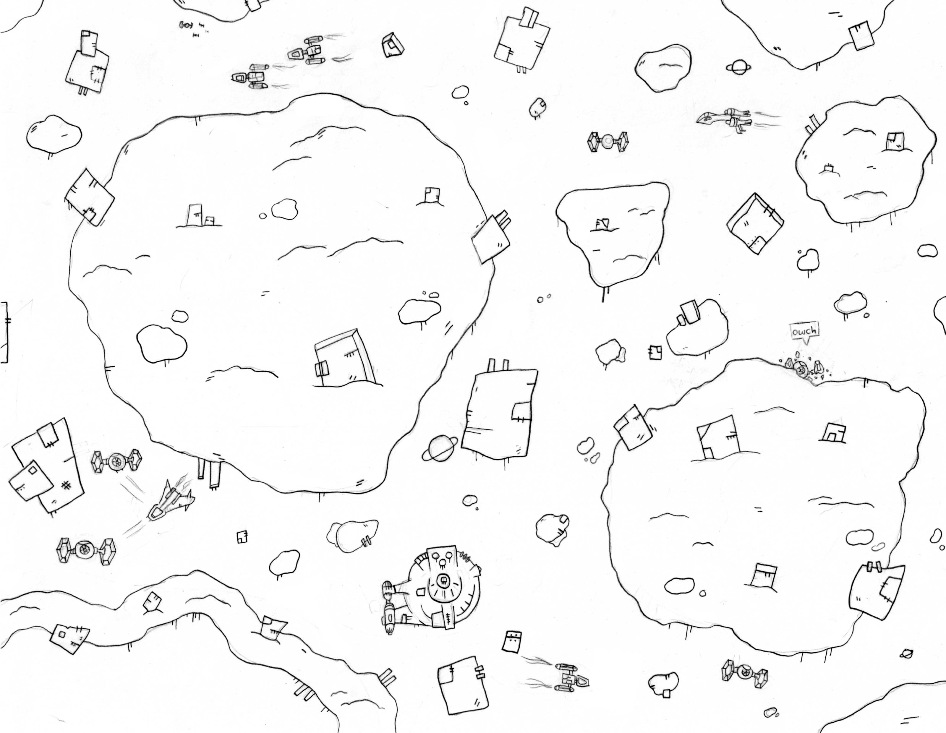 A space battle in a field of wreckage; one TIE is crashing into an asteroid.