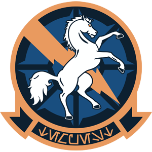 Tempest Squadron logo, featuring a horse rearing in front of a lightning bolt.